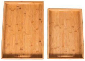 2PC bandejas de servir de bambú Set