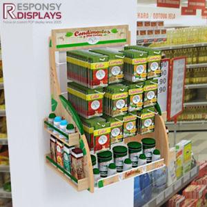 Supermercado alimentos de montaje en pared personalizados con la visualización de un logotipo cabezal