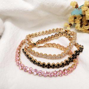 Het hete Goud Van uitstekende kwaliteit van het Messing van de Verkoop plateerde de Glanzende Armband van de Steen van het Zirconiumdioxyde