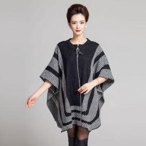 Fashion Fur Collar Zipper女性アクリルの編まれたショール岬(YKY4462)