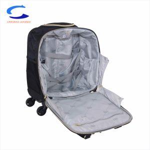 China OEM frontal de color negro de 16 bolsa para portátil Nylon Multifunción Softside llevar en breve la maleta de viaje Pinner 4 ruedas Trolley de aluminio de la etapa de aire debajo del asiento equipaje