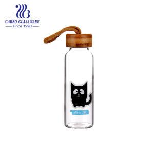 bottiglia di vetro del Borosilicate di stampa 350ml con il coperchio e la stringa (GB580360350-TH DR-536)
