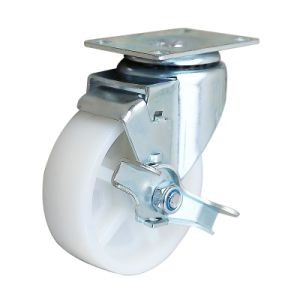 Wanda 5 pouce 125 Roue en nylon blanc Roulette pivotante avec frein latéral