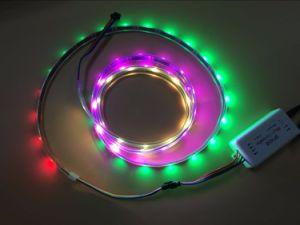 Striscia indirizzabile del pixel di 5m DC5V Apa-102c LED; 30LEDs/M con 30pixels/M; PWB nero; IP66; Impermeabilizzare in tubo del silicone; Colore completo di RGB