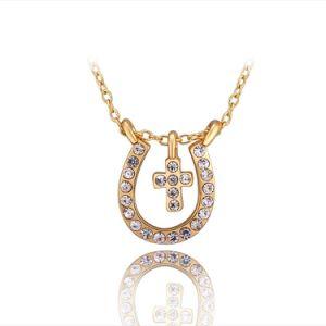 Frauen-Schmucksache-Diamant-Goldkreuz-hängende Halsketten-Schmucksachen
