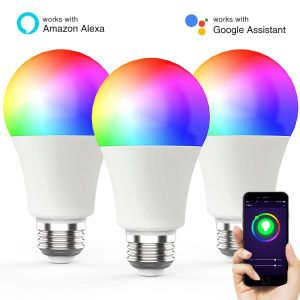 Simva Luz LED Bombilla LED Lámpara de Smart una65 9W 806lm Rgbcw WiFi bombilla LED regulable Bombilla de luz multicolor cubo no requiere obras con Amazon Alexa y Google Home