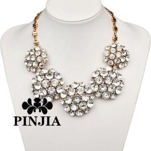 金の水晶ラインストーンのネックレスのガラス模造宝石類
