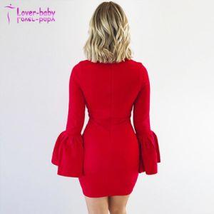 2018 L'été Bandage sexy robe Knee-Length à manchon long solide