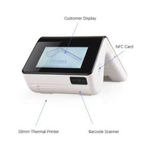 PT7003 el escáner de códigos de barras inalámbrico portátil Android dispositivo lector de tarjetas NFC POS TPV móvil con cámara de la impresora térmica y la doble pantalla táctil
