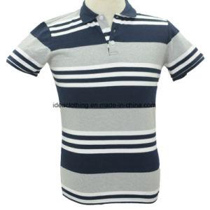 Os homens personalizada OEM logotipo personalizado de manga curta camisa Polo listradas