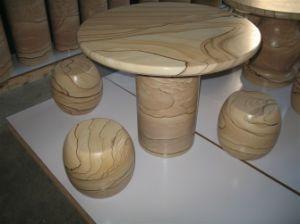 La sculpture en pierre naturelle Bureau Table ronde de grès jaune ...