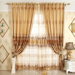 Royal Luxury bordados estilo cortina cortinas de tela (19F0052)