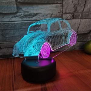 7 LED de mudança de cor 3D horas de luz com alimentação USB 3D Luz noturna para o dom de aniversário