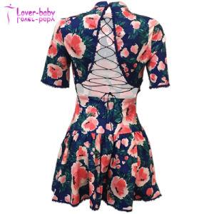 Jusqu'Fleur Backless dentelle robe estivale d'impression Jen