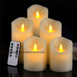 Conjunto do agregado de 3 LED branco Marfim Flameless Velas com telecomando de 10 teclas
