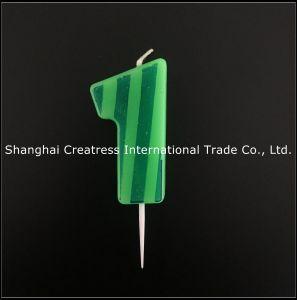 Numero fortunato verde stampato banda verde scuro finale della cera paraffinica del venditore 100% 6 candele