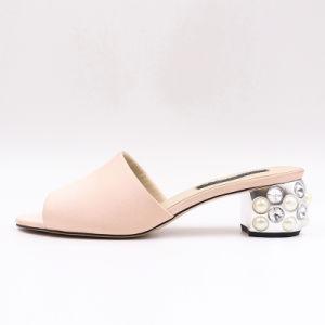 Rose facile avec les femmes d'usure des sandales bijou Talon de conception