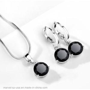 Color plata Cristal Collar Pendiente de caída de Stud juegos de joyería de Bodas