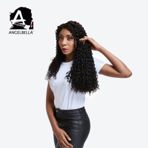 Brasileira Angelbella Cabelo humano de tafetá Cor Preta Ondulação Pixie - Double sacadas Remy Hair