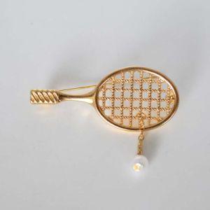 De mini Fabelachtige Broches van de Racket van het Badminton van de Parel Goud Geplateerde