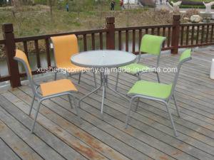 El acero 5pcs Conjunto de mobiliario moderno en la tabla+sillas