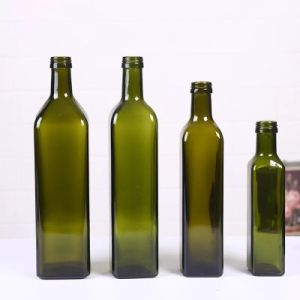 250ml-1000ml Certificación FDA de vidrio de color verde botella de aceite de oliva con tapa de aluminio