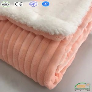 Coperta molle eccellente della flanella 100% del taglio della banda del poliestere/panno morbido di Sherpa