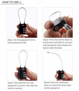 3개의 손가락 다채로운 소형 수화물 자물쇠 조합 지퍼 자물쇠
