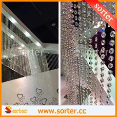 Venda a quente travando decorativas Cortina de esferas de vidro de cristal para decoração