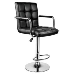 流行の黒PU Armrest (FS-T6034)が付いている調節可能な食事棒椅子
