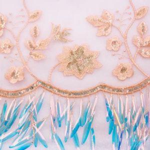 Nouveau design de broderie de thread de Sequin brillant pour les robes de mariage de tissu