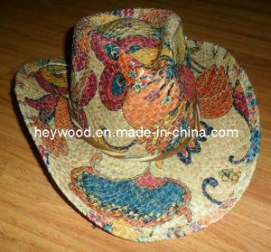 La impresión de paja de rafia sombrero de vaquero