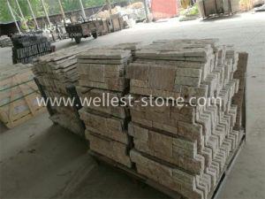 Beige Travertin Typ Wand Gestapelter Stein, Steinpanel, Steinfurnier Blatt