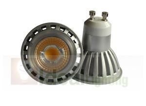 LED GU10 5W COB Spotlight 100-240V Silver Aluminum mit Lens