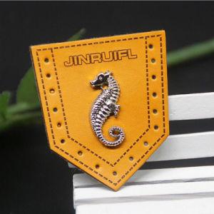 衣類のための金属のロゴのジーンズの浮彫りにされた革パッチ