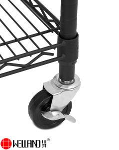 Werbung 5 Schicht justierbare NSF-Hochleistungsdraht-Metallbildschirmanzeige-Fach-Zahnstange auf Rädern