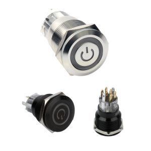8mm 40mm Momentary LED aceso 12 Volt à prova de Interruptor do Botão