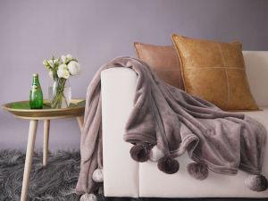 토끼 방울 술 (YFB005)를 가진 귀여운 Flannel 담요