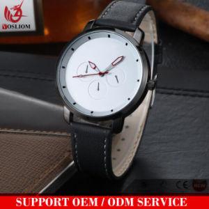 Novo design de boa qualidade promocionais dos homens Assista Cronógrafo Oferta disque o logotipo personalizado em couro genuíno Data do Calendário/Dia Relógios mão#V885