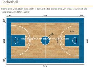 De Sporten die van pvc voor BinnenBasketbal Houten patroon-8.0mm Dikke Hj6813 vloeren