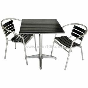 Jardín de madera contrachapada de aluminio juego de muebles de comedor Patio