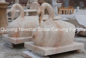 Garten-Dekoration-Marmor-Stein-Tier, Granit-weiße Schwan-Marmorierungskulptur