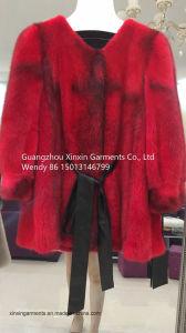 Acciones 2018 nueva moda de Fox clásica chaqueta de abrigo de pieles rojas de las mujeres Mink Coat (2037)