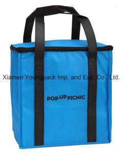 Promotional grand sac fourre-tout Non-Woven réutilisables isolé avec fermeture à glissière