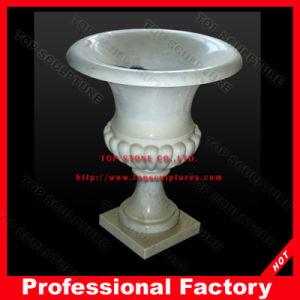 Белые мраморные вазы на основании камня Flowerpot для сада