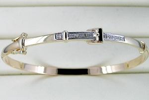 braccialetto dell'oro giallo 10K con il diamante (LBAD1001)