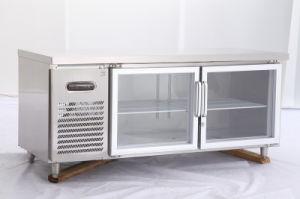La puerta de cristal comercial mesa de trabajo de cocina de acero ...