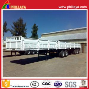 반 3axle 20-40FT 평상형 트레일러 트럭 화물 측벽 트레일러