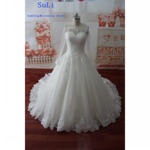 off-Shoulder Appliques Real Photo Long Sleeve Wedding Dress (WDZ61)