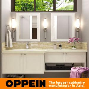 Laca blanco moderno aparador de espejo doble cuarto de baño vanidad ...